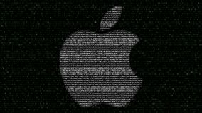 Apple Inc. logo made of flashing hexadecimal symbols on computer screen. Editorial 3D rendering