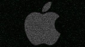 Apple Inc. logo made of hexadecimal symbols on computer screen. Editorial 3D rendering. Apple Inc. logo made of hexadecimal symbols on computer screen. Editorial Royalty Free Stock Photo