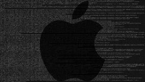 Apple Inc. logo made of source code on computer screen. Editorial 3D rendering. Apple Inc. logo made of source code on computer screen. Editorial 3D stock photography