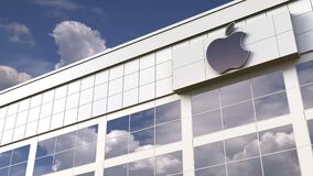 Apple Inc logo on top of a modern building. Editorial conceptual 3d animation
