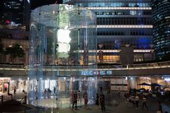 Apple, Inc. store in Shanghai, China. Shanghai, China: September 26, 2018: An exterior of an Apple, Inc. store in Shanghai China. Apple, Inc. has seven stores in stock photo