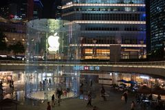 Apple, Inc. store in Shanghai, China. Shanghai, China: September 26, 2018: An exterior of an Apple, Inc. store in Shanghai China. Apple, Inc. has seven stores in royalty free stock images