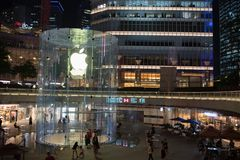 Apple, Inc. store in Shanghai, China. Shanghai, China: September 26, 2018: An exterior of an Apple, Inc. store in Shanghai China. Apple, Inc. has seven stores in stock images