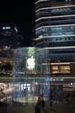 Apple, Inc. store in Shanghai, China. Shanghai, China: September 26, 2018: An exterior of an Apple, Inc. store in Shanghai China. Apple, Inc. has seven stores in royalty free stock photography