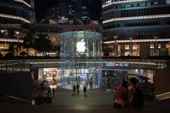 Apple, Inc. store in Shanghai, China. Shanghai, China: September 26, 2018: An exterior of an Apple, Inc. store in Shanghai China. Apple, Inc. has seven stores in stock photography