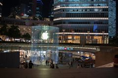 Apple, Inc. store in Shanghai, China. Shanghai, China: September 26, 2018: An exterior of an Apple, Inc. store in Shanghai China. Apple, Inc. has seven stores in stock image