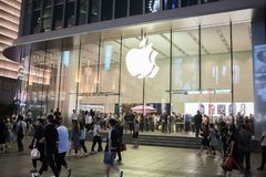 An Apple Inc. store in Shanghai, China. Shanghai, China: September 26, 2018: An Apple Inc store in Shanghai, China. Apple, Inc. has seven stores in Shanghai royalty free stock image