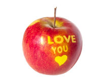 Apple with an inscription I LOVE YOU. Stock Images