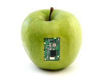 Apple with an integrated circuit Stock Photography