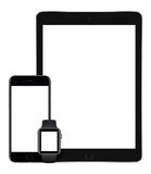 Apple interliniuje szarego iPad Pro iPhone 6S i Jabłczanego zegarka vertical obrazy royalty free