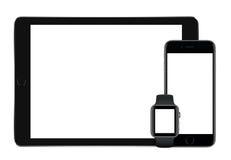 Apple Interliniuje Szarego iPad Pro iPhone 6S i Jabłczanego zegarka mockup Zdjęcie Stock