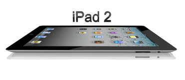 Apple iPad 2 Wi-Fi Seitenansicht 64Gb + 3G stock abbildung
