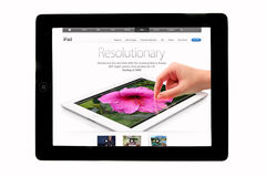 Apple ipad. Tablet showing iPad's web site isolated on white Royalty Free Stock Photos