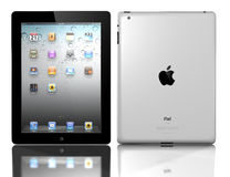 Apple iPad 3. The iPad2, the digital tablet with multi touch screen. iPad is owned by company Apple Inc. Side view of showing its white screen and isolated on a