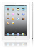 Apple iPad 3 white. The iPad, the digital tablet with multi touch screen. iPad is owned by company Apple Inc. Side view of showing its white screen and isolated royalty free illustration