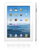 Apple iPad 3 white. The Retina display on the new, third-generation iPad makes everything look crisper and more lifelike Its the best mobile display ever, was Royalty Free Stock Photography