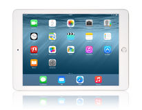 Apple iPad Air 2. KIEV, UKRAINE - JANUARY 29, 2015: Brand new white Apple iPad Air 2, 6th generation of the iPad, developed by Apple inc. and was released on Stock Image