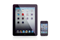 Apple iPad and iPhone. 4 Size Comparison Royalty Free Stock Photos
