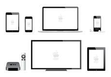 Apple-ipad Mini-iphone iPod-Macfernsehen stock abbildung
