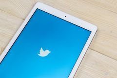 Apple iPad Pro with Twitter application. Twitter is online social networking and microblogging service.Twitter app. icon. Social m. Sankt-Petersburg, Russia Royalty Free Stock Photos