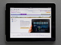Apple Ipad showing Yahoo web page. On screen Royalty Free Stock Image