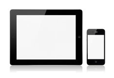 Apple iPad3 With Apple iPhone4S. A new Apple iPad 3rd generation with Apple iPhone 4S on a white background with a blank screen Stock Photo