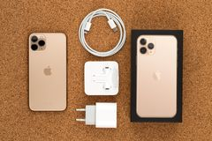 Free Apple IPhone 11 Pro On Cork Surface. Stock Photography - 161304392
