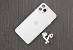 Free Apple IPhone 11 Pro Silver Color And Airpods On A Gray Surface. Royalty Free Stock Image - 170015826