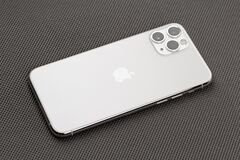 Free Apple IPhone 11 Pro Silver Color On A Gray Surface. Royalty Free Stock Image - 170015796