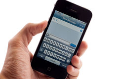 Apple IPhone 4 Text Message Screen Royalty Free Stock Image