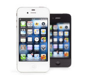 Apple iPhone 4, weißes und Schwarzes, getrennt Stockbild