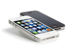 Apple iPhone 4, white and black, isolated Royalty Free Stock Image