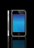 Apple Iphone 4S. An image of the latest, market leading, Apple iphone 4S  showing the touch screen and controls plus the slim side view. The phones have a Stock Image