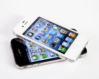 Apple iPhone 4s. Touchscreen slate smart phone developed by Apple Royalty Free Stock Photography