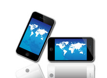 Apple Iphone 4S 5. An image of the latest, market leading, Apple iphone 4S 5 showing the touch screen and controls. The phones have a retina display screen for Royalty Free Stock Images