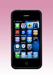 Apple iPhone 4S - Apps Screen - Smartphone. An Apple iPhone 4S showing the Apps display. This iphone also has the outer rubber edge case fitted Stock Photo
