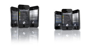 Apple iPhone 4S with Siri App - SET. Set of  each 3 Apple iPhone 4S 's showing the Siri Speech Application Stock Images