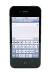 Apple iPhone 4s text message. Screen, isolated in white background Royalty Free Stock Image