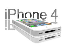 Apple iPhone 4s white. IPhone 4s white on white background Stock Photography