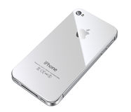 Apple iphone 4S white back. Apple iphone 4S white cell phone with illustration Stock Photo