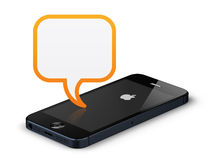 Apple iphone 5. New Apple iPhone 5 with dialog box Royalty Free Stock Images