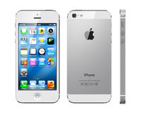 Apple iphone 5 white. Three projections of white Apple iphone 5 stock photography