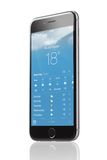 Apple iPhone 6 With Application Of Weather Forecast Royalty Free Stock Images