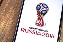 Apple iPhone with FIFA World Cup Russia 2018 logo. Ekaterinburg,. Russia - May 11, 2018 royalty free stock image