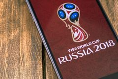 Apple iPhone with FIFA World Cup Russia 2018 logo. Ekaterinburg,. Russia - May 11, 2018 royalty free stock photos