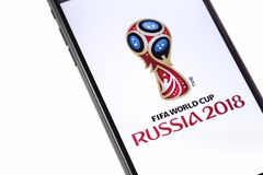Apple iPhone with FIFA World Cup Russia 2018 logo on the white b. Ackground. Ekaterinburg, Russia - May 11, 2018 stock image