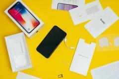 Apple Iphone X flagship. KAUNAS, LITHUANIA - NOVEMBER 03, 2017: New Apple Iphone X flagship smartphone. Latest Apple Iphone 10 mobile phone model start shipping Royalty Free Stock Photo