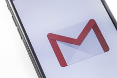 Apple iPhone with Gmail logo on the screen. Russia - October 04, royalty free stock photography