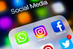 Apple iPhone X with icons of social media facebook, instagram, twitter, snapchat application on screen. Social media icons. Social. Sankt-Petersburg, Russia royalty free stock photo