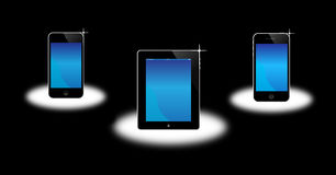 Apple Iphone, ipad, ipod. An image of the latest, apple market leading products. The image shows the Apple ipod, ipad and iphone 4, each showing the touch screen Stock Images